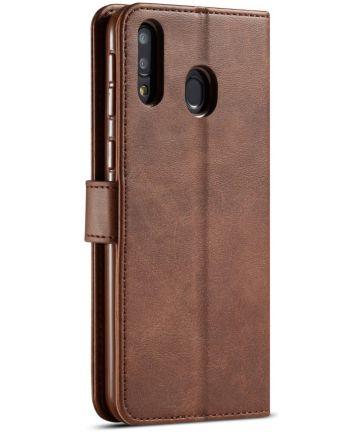 Samsung Galaxy M20 Power Stand Portemonnee Bookcase Hoesje Bruin Hoesjes