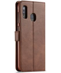 Samsung Galaxy A40 Stand Portemonnee Bookcase Hoesje Donkerbruin
