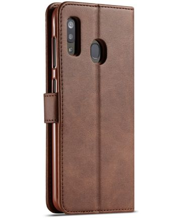 Samsung Galaxy A40 Stand Portemonnee Bookcase Hoesje Donkerbruin Hoesjes