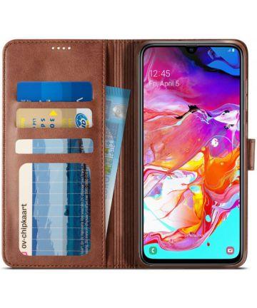 Samsung Galaxy A70 Stand Portemonnee Bookcase Hoesje Donkerbruin Hoesjes