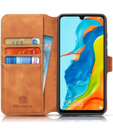 Huawei P30 Lite Retro Portemonnee Hoesje Bruin Hoesjes