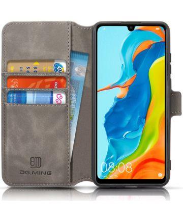 Huawei P30 Lite Retro Portemonnee Hoesje Grijs Hoesjes