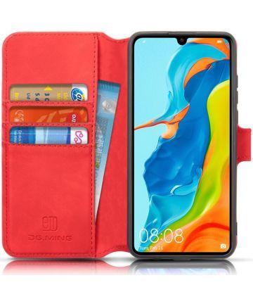 Huawei P30 Lite Retro Portemonnee Hoesje Rood Hoesjes