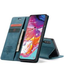 Samsung Galaxy A70 Retro Portemonnee Hoesje Blauw