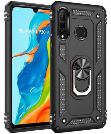 Huawei P30 Lite Hybride Hoesje met Kickstand Zwart Hoesjes