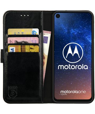 Rosso Element Motorola One Vision Hoesje Book Cover Zwart Hoesjes