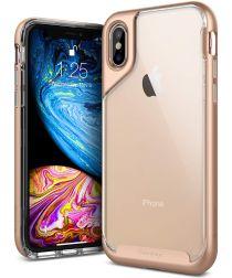 Caseology Skyfall Apple iPhone XS / X Hoesje Transparant/Roze Goud