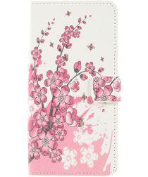 Samsung Galaxy A50 Book Case Hoesje Wallet Kunstleer Print Bloesem