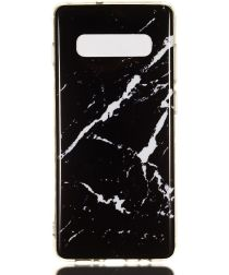 Samsung Galaxy S10 Plus TPU Back Cover met Marmer Print Zwart