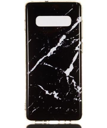 Samsung Galaxy S10 Plus TPU Back Cover met Marmer Print Zwart Hoesjes