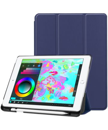 Apple iPad 2017 / 2018 / Air / Air 2 Tri-Fold Hoes Donker Blauw Hoesjes