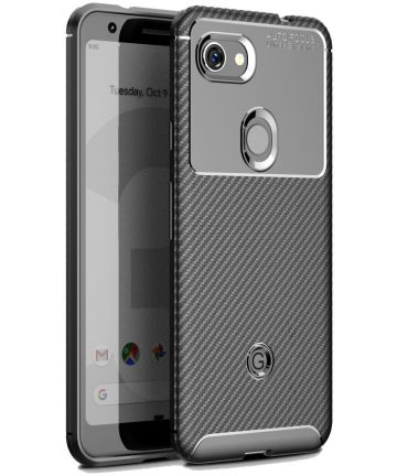 Google Pixel 3a Siliconen Carbon Hoesje Zwart Hoesjes