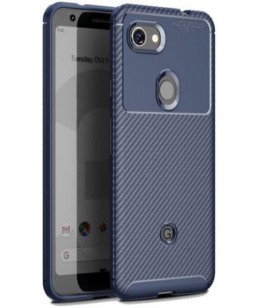 Google Pixel 3a Siliconen Carbon Hoesje Blauw Hoesjes