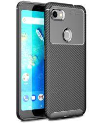 Google Pixel 3a XL Siliconen Carbon Hoesje Zwart