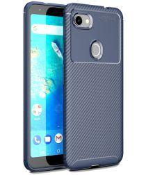 Google Pixel 3a XL Siliconen Carbon Hoesje Blauw
