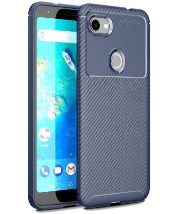 Google Pixel 3a XL Siliconen Carbon Hoesje Blauw Hoesjes