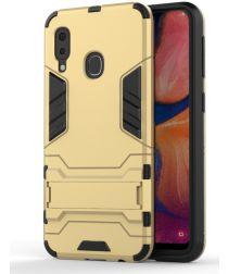 Samsung Galaxy A20E Hybride Stand Hoesje Goud