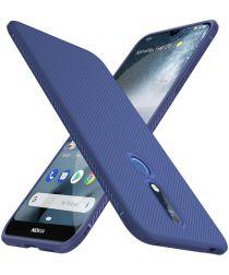 Nokia 4.2 Twill Texture TPU Hoesje Blauw