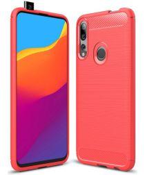 Huawei P Smart Z Geborsteld TPU Hoesje Rood