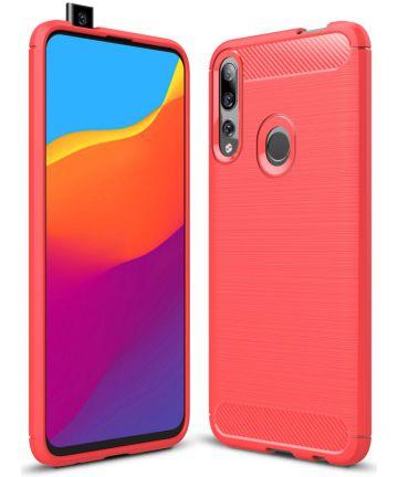 Huawei P Smart Z Geborsteld TPU Hoesje Rood Hoesjes