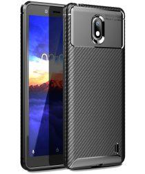 Nokia 1 Plus Carbon TPU Hoesje Zwart