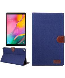 Samsung Galaxy Tab A 10.1 (2019) Jeans Portemonnee Hoesje Donkerblauw
