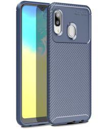 Samsung Galaxy A20E Siliconen Carbon Hoesje Blauw