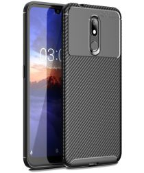 Nokia 3.2 Siliconen Carbon Hoesje Zwart