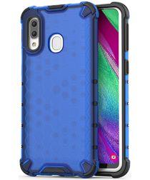 Samsung Galaxy A40 Hybride Honinggraat Hoesje Transparant Blauw