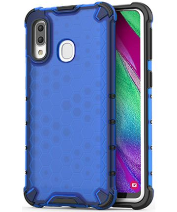 Samsung Galaxy A40 Hybride Honinggraat Hoesje Transparant Blauw Hoesjes