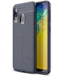 Samsung Galaxy A20E Hoesje TPU met Leren Textuur Blauw