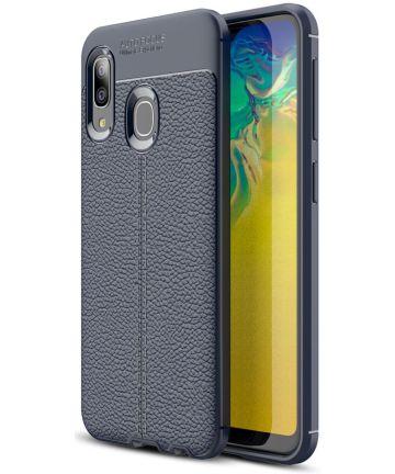 Samsung Galaxy A20E Hoesje TPU met Leren Textuur Blauw Hoesjes