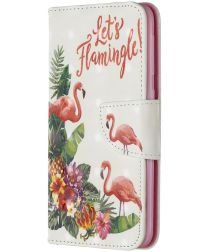 Samsung Galaxy A20E Portemonnee Hoesje met Flamingo Print