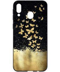 Samsung Galaxy A40 TPU Hoesje met Gouden Vlinder Print