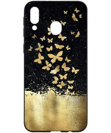 Samsung Galaxy A40 TPU Hoesje met Gouden Vlinder Print Hoesjes