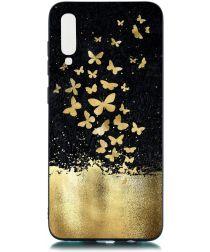 Samsung Galaxy A70 TPU Hoesje met Gouden Vlinder Print