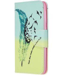 Samsung Galaxy A20E Portemonnee Hoesje met Feather Print