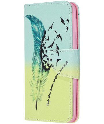 Samsung Galaxy A20E Portemonnee Hoesje met Feather Print Hoesjes