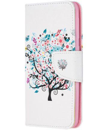 Samsung Galaxy A20E Portemonnee Hoesje met Tree Print Hoesjes