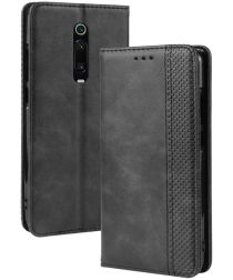 Xiaomi Mi 9T Vintage Portemonnee Hoesje Zwart