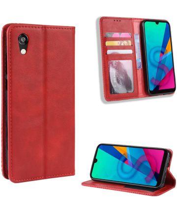 Huawei Y5 2019 Vintage Portemonnee Hoesje Rood Hoesjes
