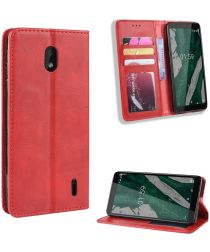 Nokia 1 Plus Portemonnee Hoesje Vintage Rood