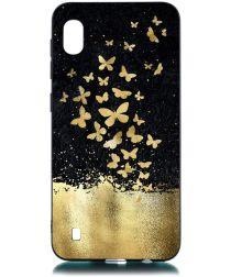 Samsung Galaxy A10 TPU Hoesje met Gouden Vlinder Print