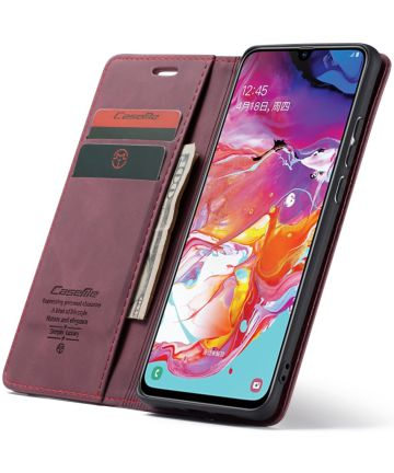 Samsung Galaxy A70 Retro Portemonnee Hoesje Rood Hoesjes