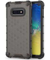 Samsung Galaxy S10E Hybride Hoesje met Honinggraat Patroon Zwart