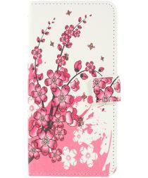 Samsung Galaxy A10 Lederen Portemonnee Hoesje met Bloemen Print