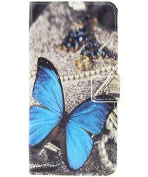 Samsung Galaxy A10 Lederen Portemonnee Hoesje met Vlinder Print