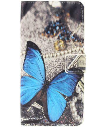 Samsung Galaxy A10 Lederen Portemonnee Hoesje met Vlinder Print Hoesjes