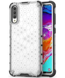 Samsung Galaxy A70 Hybride Hoesje met Honinggraat Patroon Wit