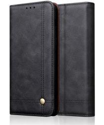 Sony Xperia L3 Vintage Portemonnee Hoesje Zwart